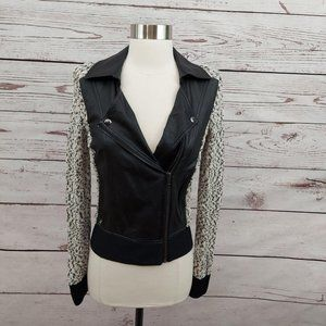 Guess Faux Leather Knit Contrast Moto Jacket Blk S